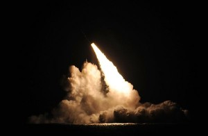 A Trident II D5 missile blasts off from the submerged USS Kentucky off Point Mugu. Navy photo