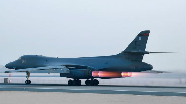 An Air Force B-1B Lancer takes off from Al Udeid Air Base, Qatar, to support Operation Inherent Resolve. Air Force photo
