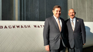 Poseidon Water CEO Carlos Riva (left) with Mark Weston, chairman of the San Diego County Water Authority. Photo by Chris Jennewein
