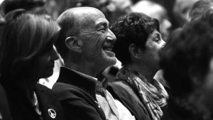 An audience member reacts to the conversation about Watergate at UCSD. Photo by Chris Stone