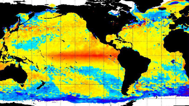 Red area on world map shows warm Pacific El Nino water as of Nov. 30.