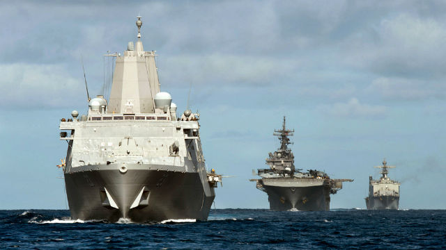 The ships of the Essex Ready Group, the USS Anchorage (left), USS Essex and USS Rushmore. Navy photo