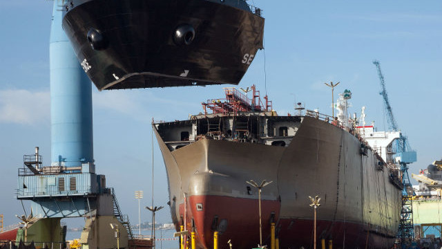 The tanker Independence under construction at the General Dynamics NASSCO shipyard. Photo courtesy NASSCO