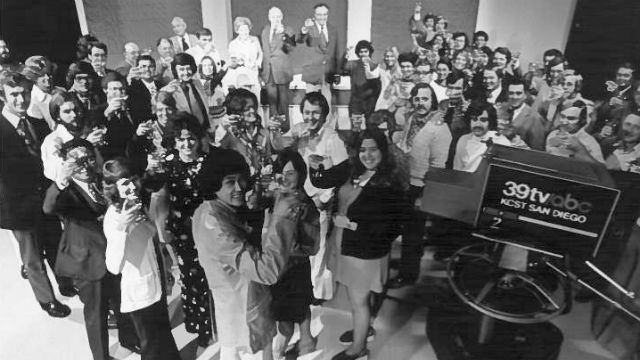 A historic photo of the staff of then KCST-TV.