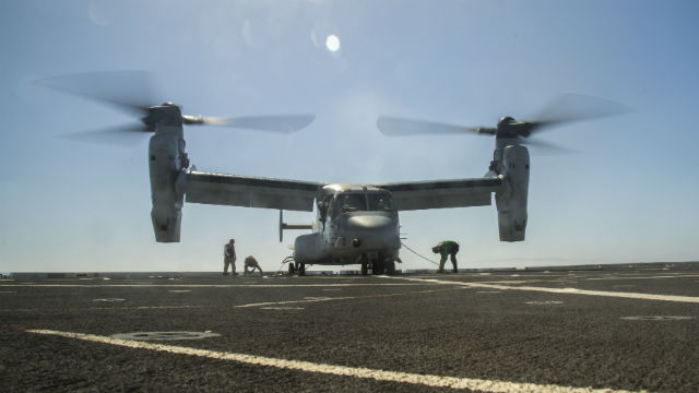 An Osprey lands on the USS New Orleans in September. Marine Corps photo