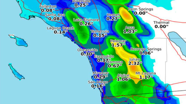 National Weather Service forecast for rainfall Monday night through Wednesday morning.
