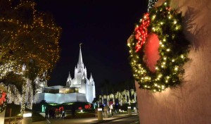 Light display at San Diego Temple of the Church of Jesus Christ of Latter-day Saints. Photo by Chris Stone