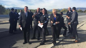 San Bernardino County officials prepare for news conference on shootings. Photo via Twitter
