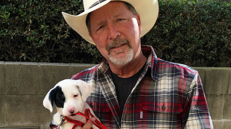 Poway Mayor Steve Vaus with his adopted pup. Photo courtesy of Steve Vaus