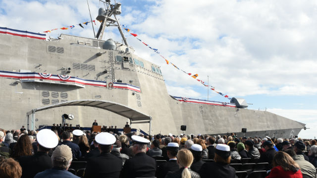 The USS Jackson at the commissioning ceremony in Gulfport, MS. Navy photo
