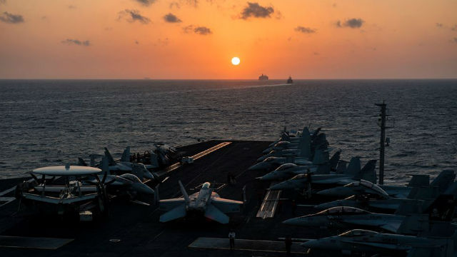 The aircraft carrier USS Harry S. Truman in the Red Sea earlier in December. Navy photo