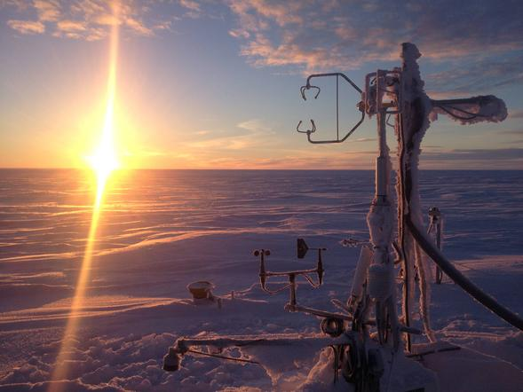 Image of on-demand heating system for atmospheric measuring towers in Atqasuk, Alaska. Photo by Salvatore Losacco from SDSU News Center.