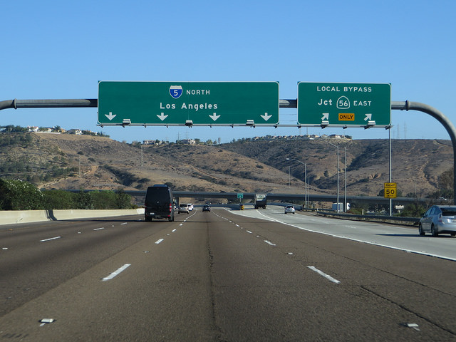 Cars drive along Interstate 5 near Carmel Valley. Photo by Ken Lund via Flickr