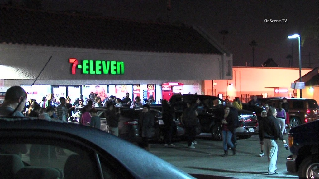 The crowd outside the 7-Eleven in Chino Hills where a jackpot-winner Powerball ticket was sold. Courtesy OnScene.tV