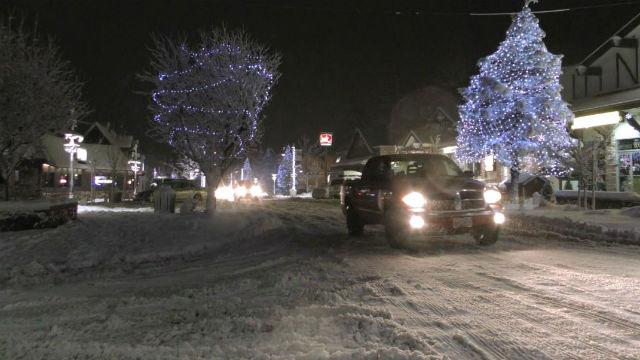 Snow in Big Bear on Tuesday night. Courtesy OnScene.TV