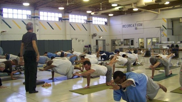 James Fox teaches yoga to inmates in this undated photo. Courtesy of Prison Yoga Project