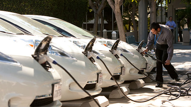Electric vehicles being charged. Photo courtesy SDG&E