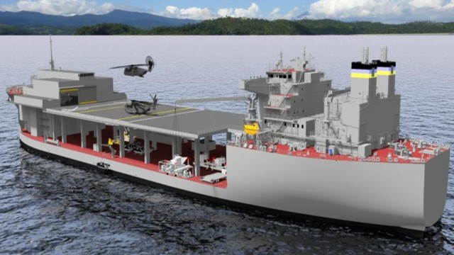 Artists conception of an expeditionary sea base underway. Courtesy Marine Corps