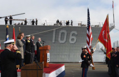 Navy Secretary Ray Mabus and Reps. Scott Peters and Susan Davis at the Great Green Fleet ceremony. Navy photo