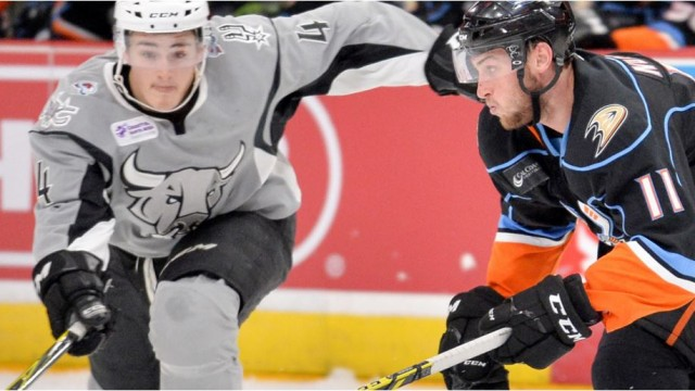 Action on the ice Friday night in San Antonio. Courtesy of San Diego Gulls