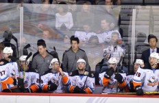San Diego Gulls players watch from the bench. Photo by Chris Stone