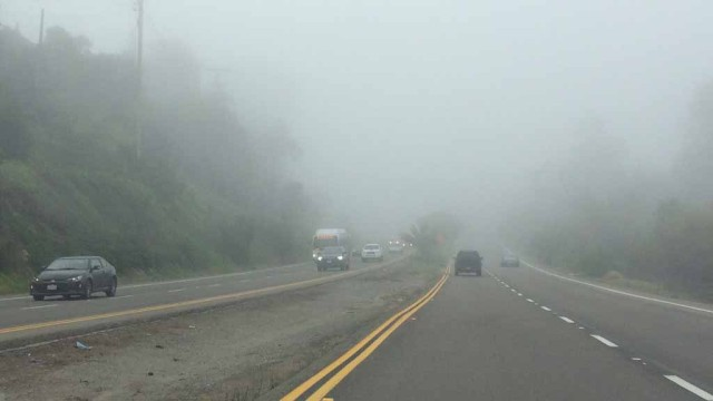 Commuters faced thick fog on San Diego roadways.