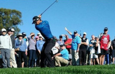 Defending champion Jason Day tees off on Thursday. Photo courtesy Farmers Insurance Open Instagram feed