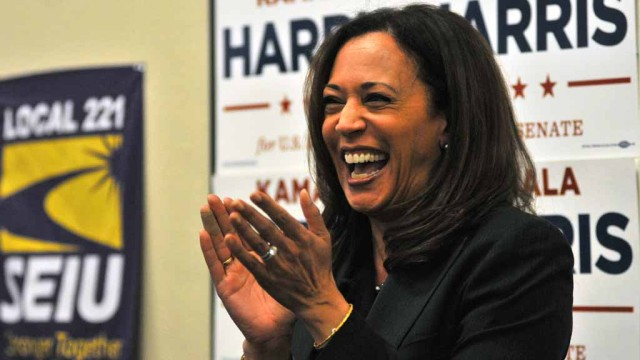 U. S. Senate candidate Kamala Harris at a campaign rally in San Diego. Photo by Chris Stone