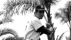 Kerry Michael Dineen as a University of San Diego baseball star in the early 1970s. Photo via usdtoreros.com