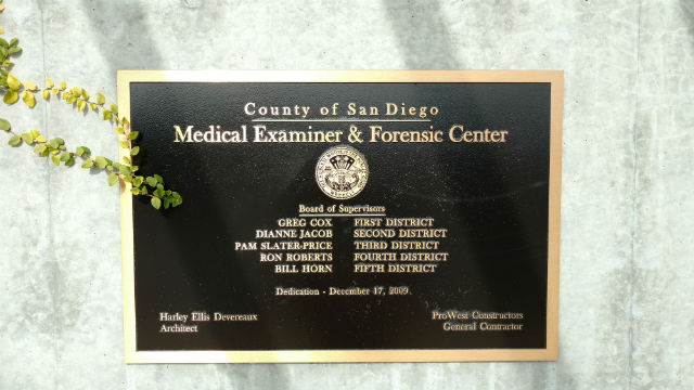 Plaque outside the office of the San Diego County Medical Examiner. Photo by Chris Jennewein