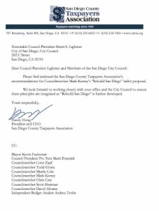 Letter from SDCTA to San Diego mayor and City Council. (PDF)