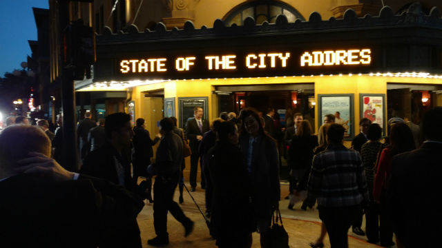 The marquee outside the historic Balboa Theatre shortly after the doors opened for Mayor Kevin Faulconer's address. Photo by Chris Jennewein