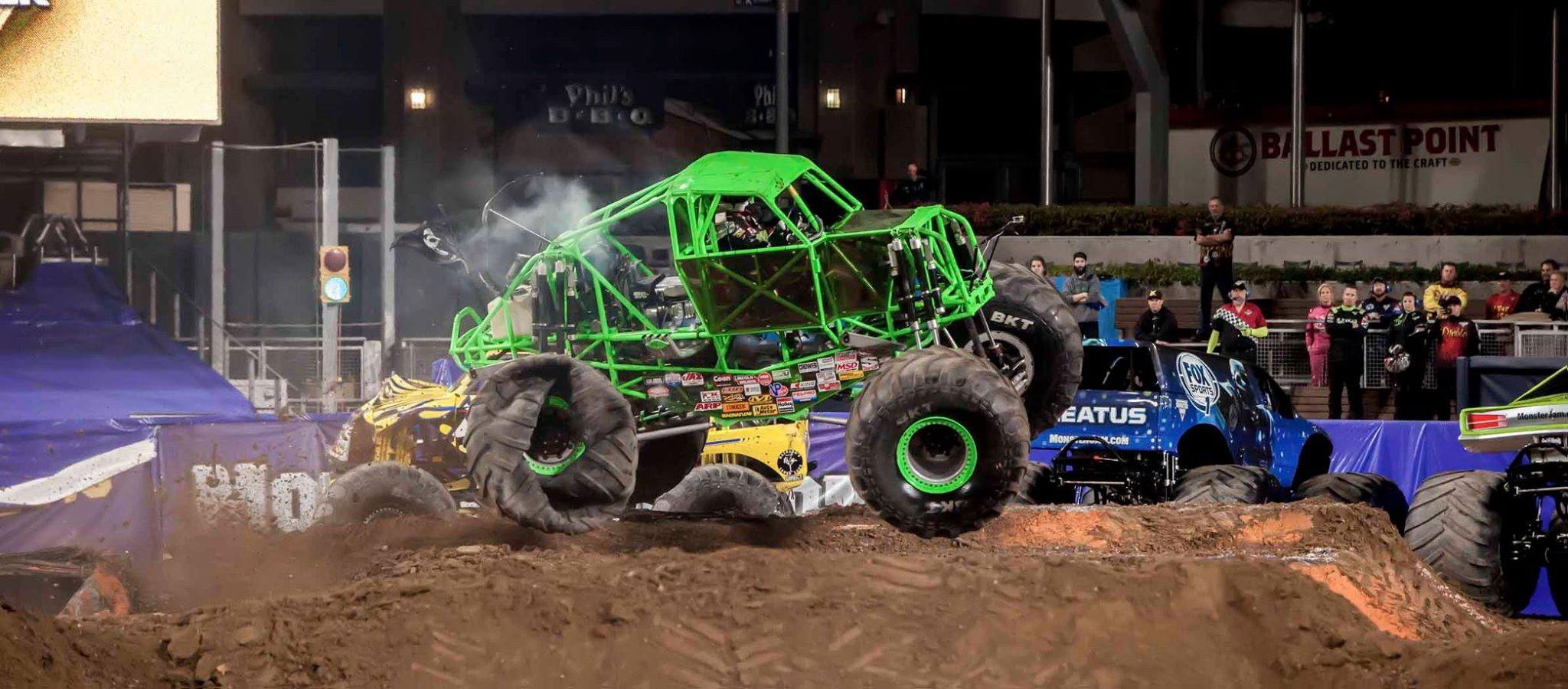 Monster jam features 28 massive trucks photo courtesy of feld entertainment