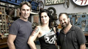 """""""American Pickers"""" stars, from left: Mike Wolfe, Danielle Colby and Frank Fritz. Photo via History Channel"""