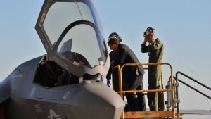 Ash Carter inspects an F-35 stealth jet at Miramar. Photo by Chris Stone