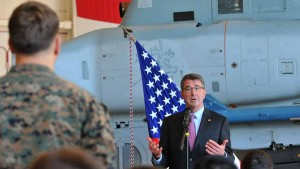 Secretary of Defense Ashton Carter talked to Marines about combat readiness at MCAS Miramar. Photo by Chris Stone
