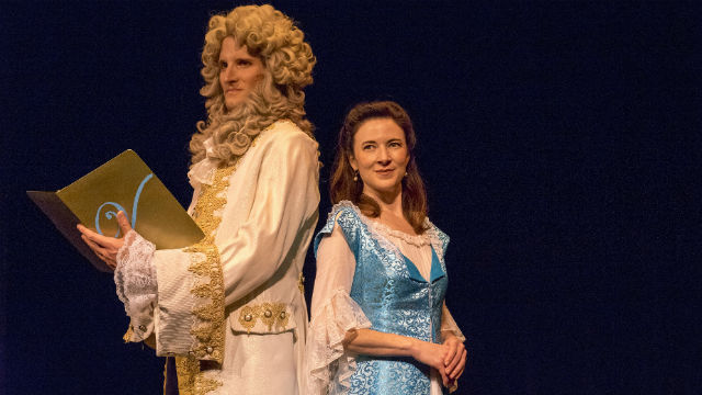 Skyler Sullivan as Voltaire and Anne Glover as Emilie du Chatelet. Photo by Daren Scott