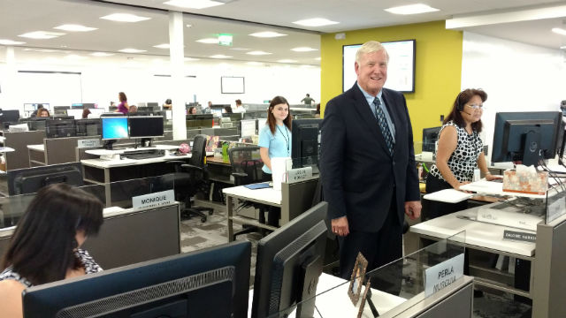 Greg Cox in the new 2-1-1 call center in Kearny Mesa. Photo by Chris Jennewein