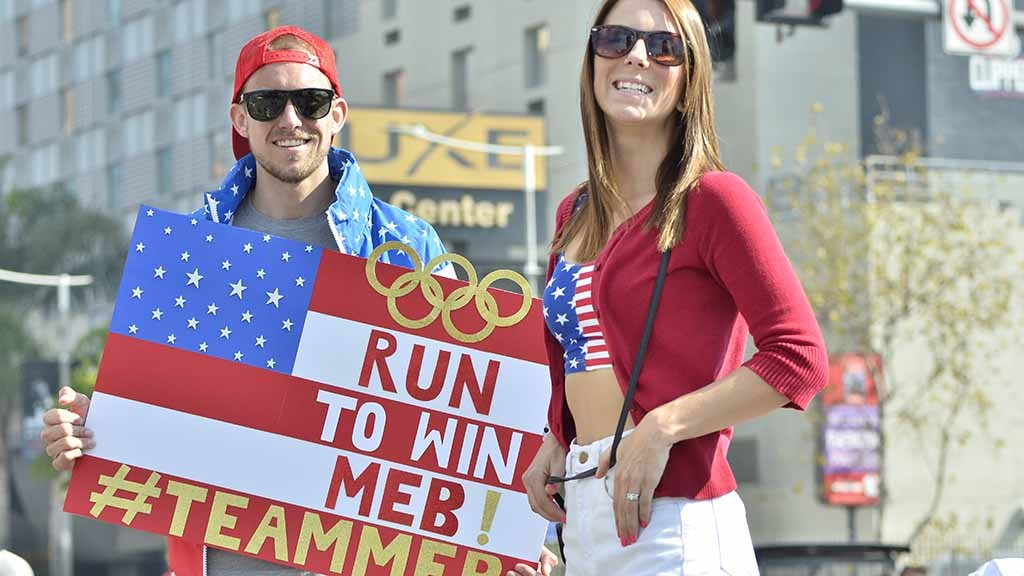 Andrew Falkiewicz and fiancee Allie Applegate, neighbors of Meb Keflezighi in Mission Hills. Photo by Ken Stone