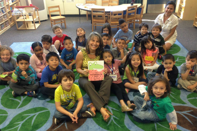 San Diego City Councilmember Lorie Zapf read to the Pre-K class at Dewey Elementary on Tuesday. Courtesy Worlds Alive Facebook