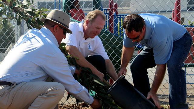 Mayor Kevin Faulconer plants a tree in Logan Heights. Courtesy of the mayor's office