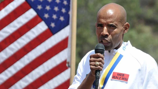 Meb Keflezighi speaks at his alma mater, San Diego High School, where he was honored for 2014 Boston Marathon victory. Photo by Chris Stone