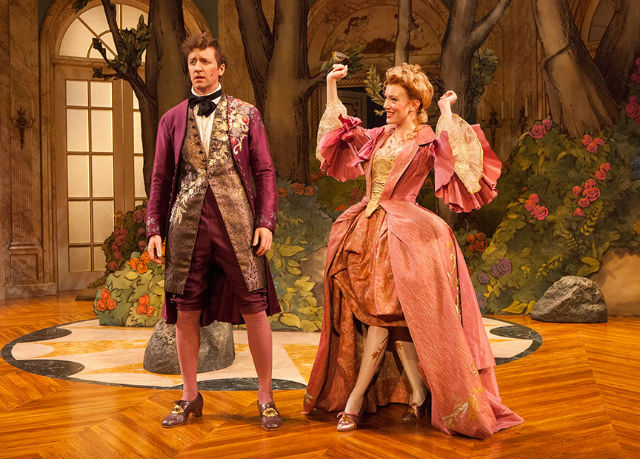 "Cary Donaldson as Dorant and Amelia Pedlow as Lucille in ""The Metromaniacs"" at the Old Globe. Photo by Jim Cox."