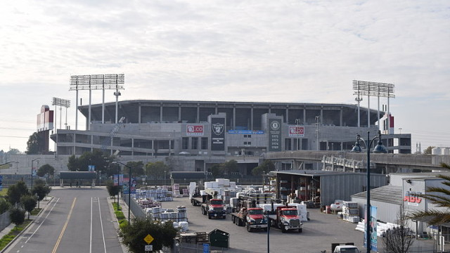 The Raiders will continue to play football at the O.co Coliseum in Oakland. Photo via Wikimedia Commons