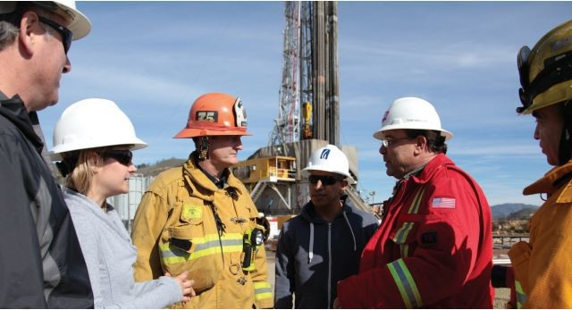 Utility officials at one of the relief wells being drilled in Porter Ranch. Courtesy Southern California Gas