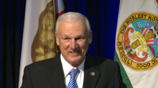 Ron Roberts gives the 2016 State of the County Address at the San Diego Hall of Champions. Photo from county video