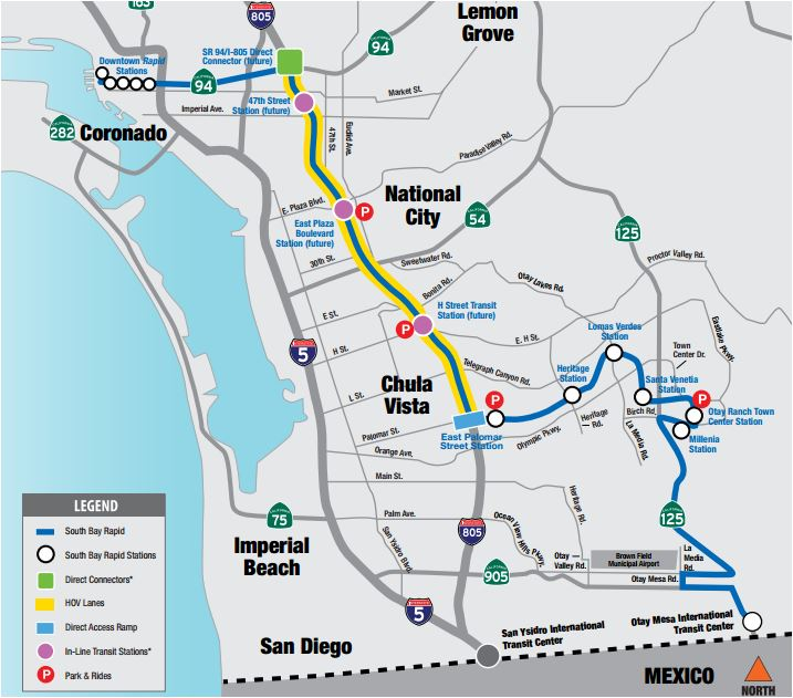 Map shows route of South Bay Rapid project.