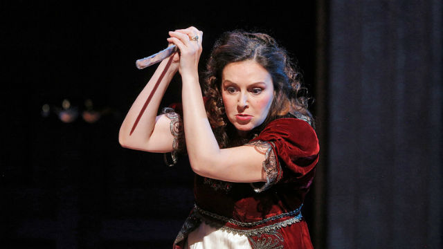 "Alexia Voulgaridou in the San Diego Opera's production of ""Tosca."""
