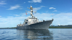 The guided-missile destroyer USS William P. Lawrence nears Suva, Fiji. Navy photo