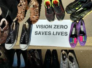 Shoes symbolizing traffic fatalities.
